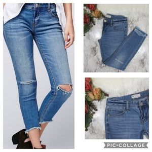 Free People Skinny Jeans Raw Hem